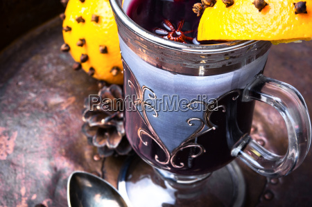 mulled wine with orange