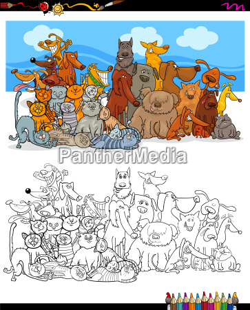 cats and dogs characters group color