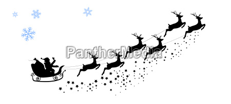 silhouette santa claus riding on