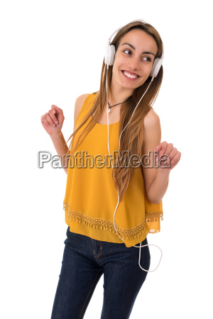 woman, listen, music - 23465178