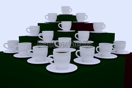 3d rendering of many white coffee