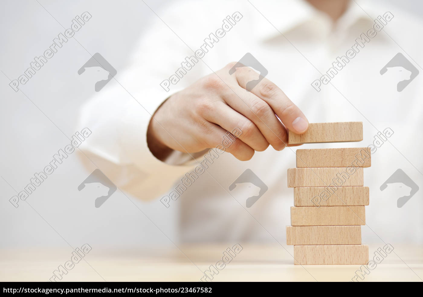 man's, hand, stacking, wooden, blocks., business - 23467582
