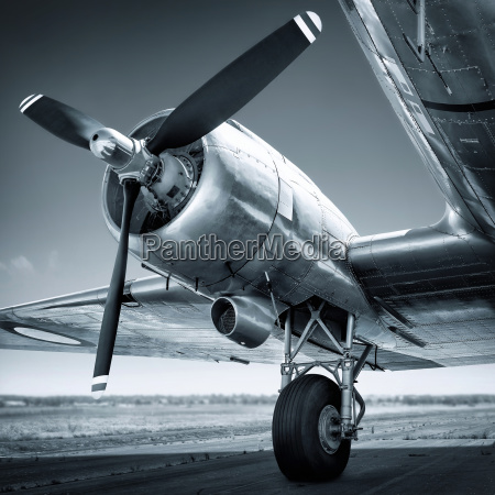 historic aircraft on a runway ready