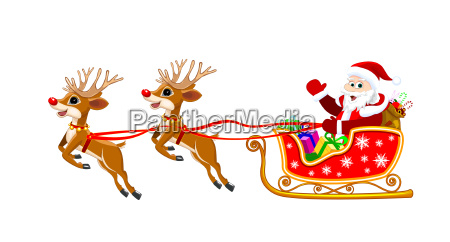 santa on sleigh with deer