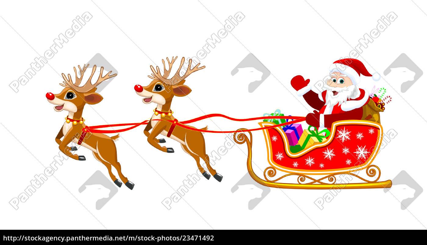 santa, on, sleigh, with, deer, - 23471492