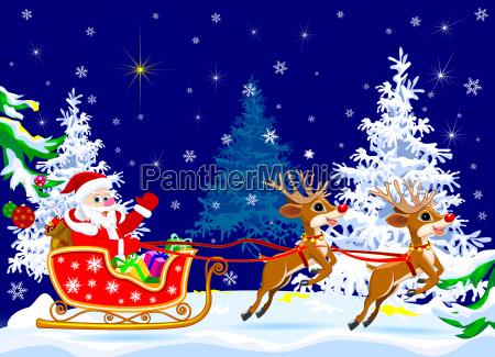 santa, on, sleigh, with, deer, - 23471656