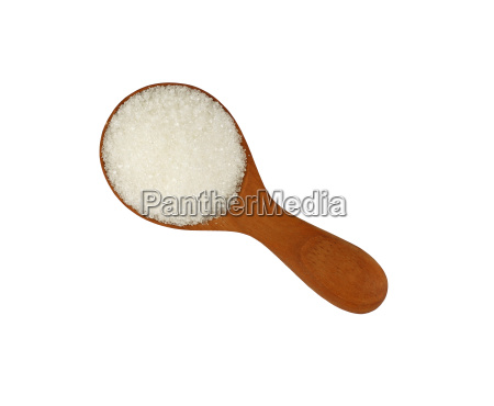 wooden scoop spoon full of white