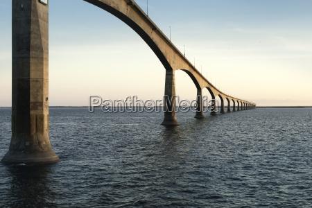 confederation bridge over sunset sky northumberland