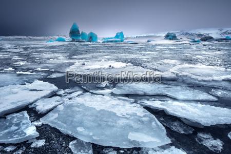 glacial lake with icebergs
