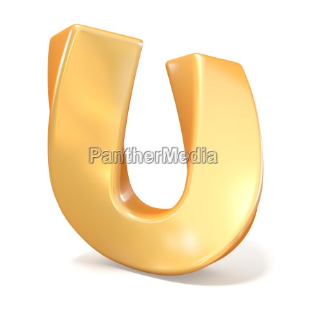 orange twisted font uppercase letter u