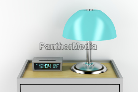 nightstand, with, alarm, clock, and, lamp - 23474567