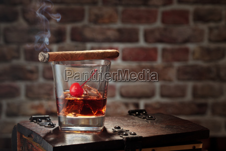 whisky, and, cigar. - 23475443