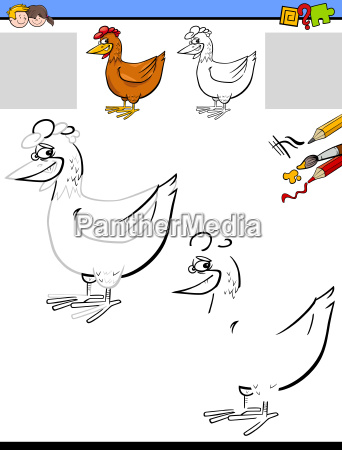 drawing and coloring worksheet with chicken