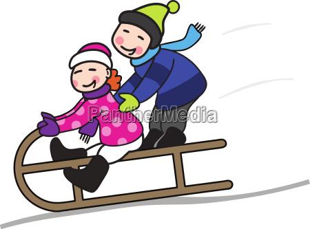 two kids in sledging vector illustration