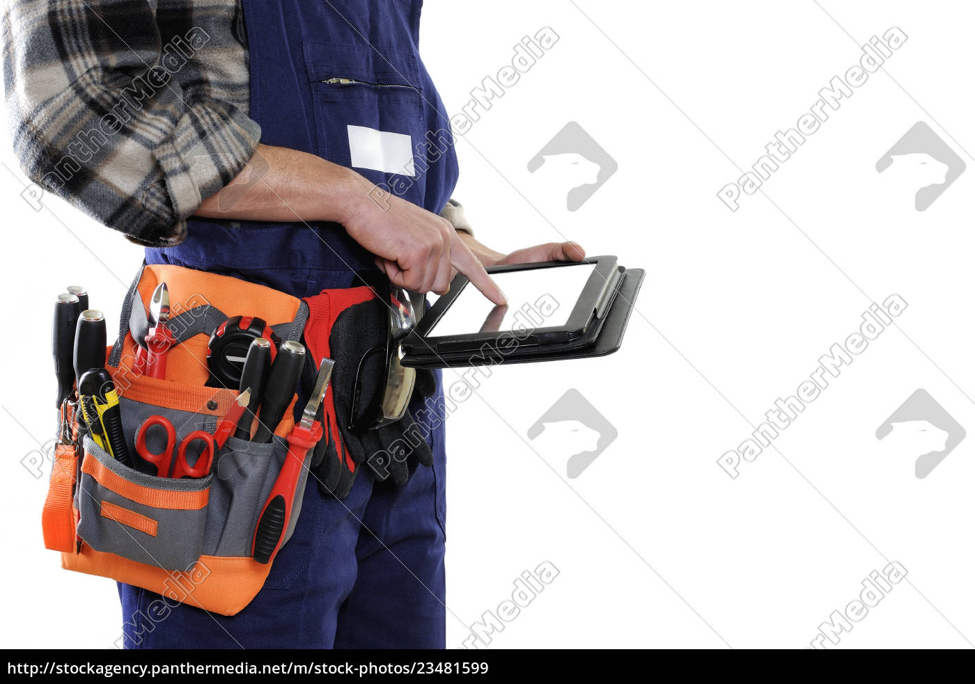 young, electrician, technician, in, workwear, isolated - 23481599