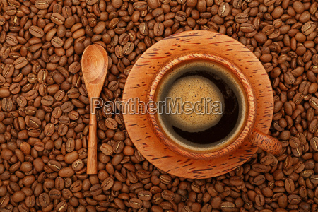 coffee in full palm wood cup