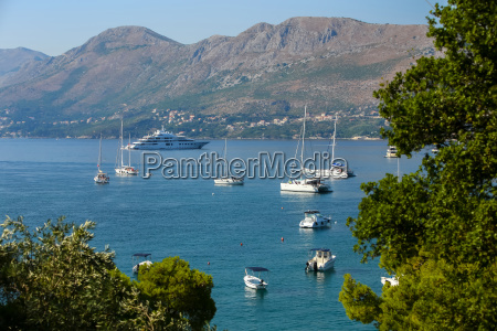 boats and yacht anchored in cavtat