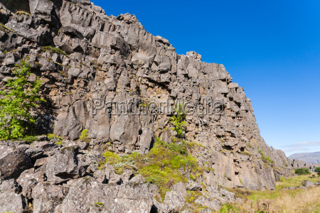 rock walls of almannagja fault in