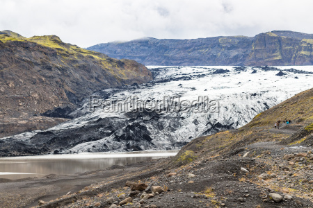 view of solheimajokull glacier in iceland