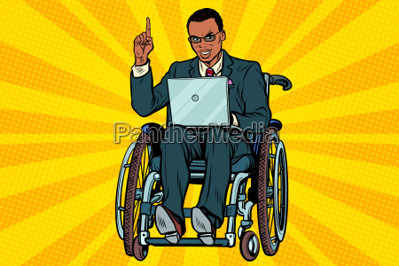 african, businessman, in, wheelchair, with, laptop - 23491689
