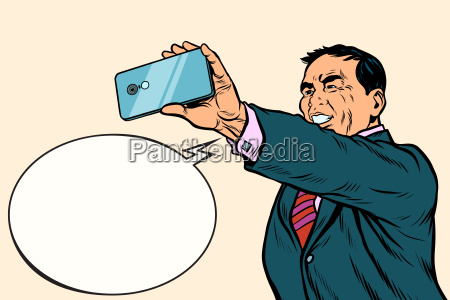 asian, businessman, makes, selfie - 23491561