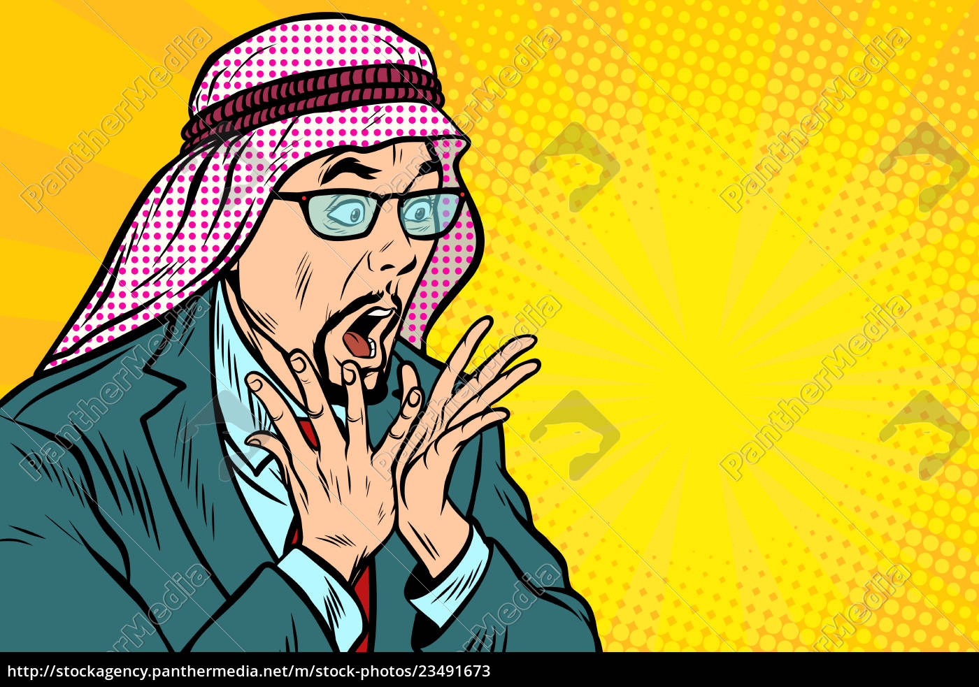 close-up, , face, surprise, , delight, arab, businessman - 23491673