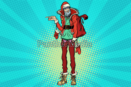 hipster, santa, claus, pointing, sideways - 23491681