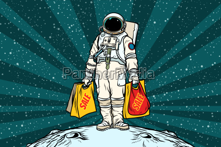 lone, retro, astronaut, with, a, sale - 23491749