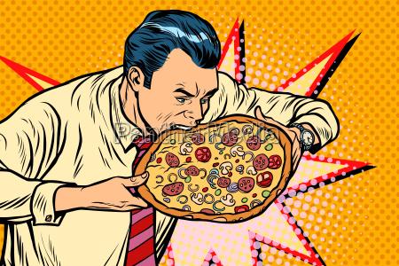 man, bites, pizza - 23491683