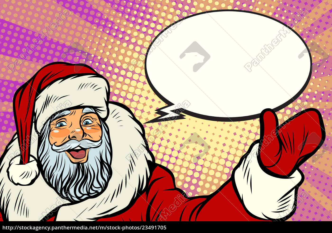 promoter, santa, claus, with, comic, bubble - 23491705