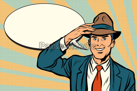 retro, businessman, takes, off, his, hat - 23491737