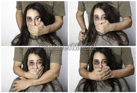 violent man silencing a woman