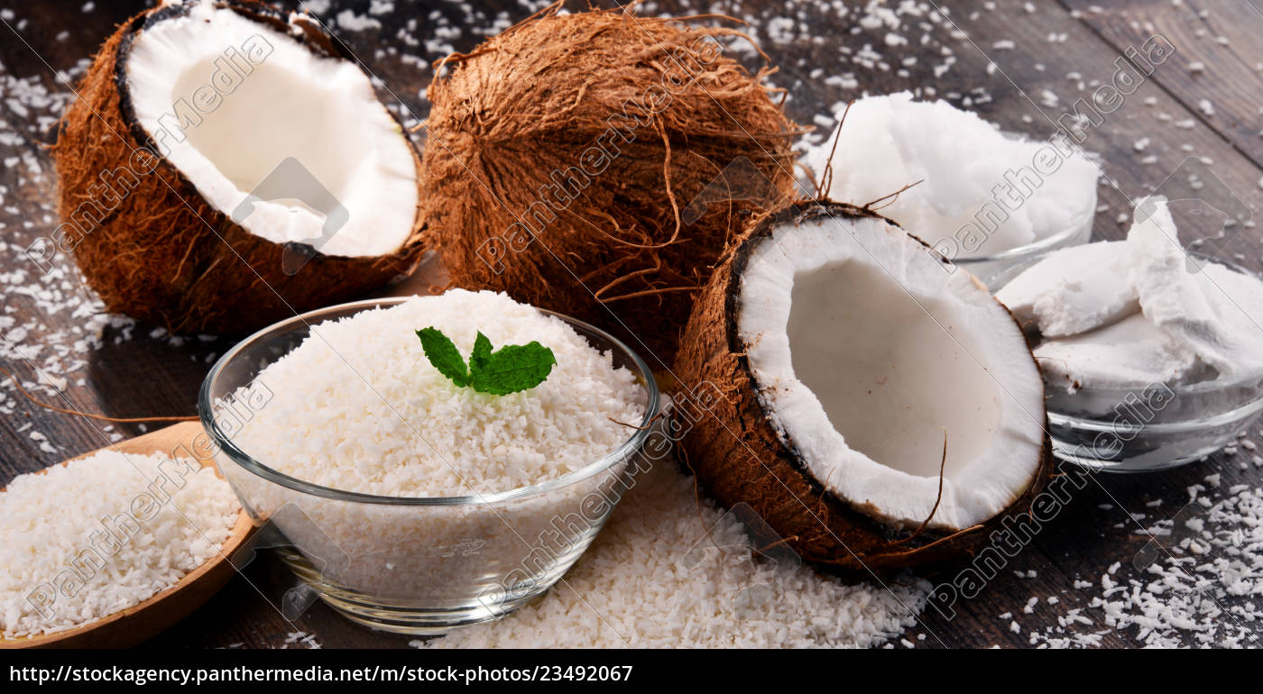 composition, with, bowl, of, shredded, coconut - 23492067