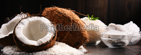 composition, with, bowl, of, shredded, coconut - 23492083