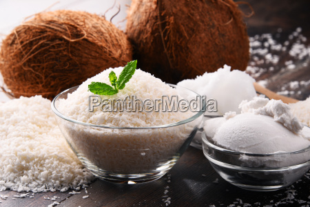 composition, with, bowl, of, shredded, coconut - 23492091