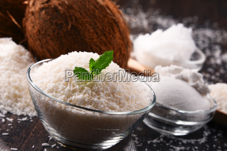 composition, with, bowl, of, shredded, coconut - 23492093