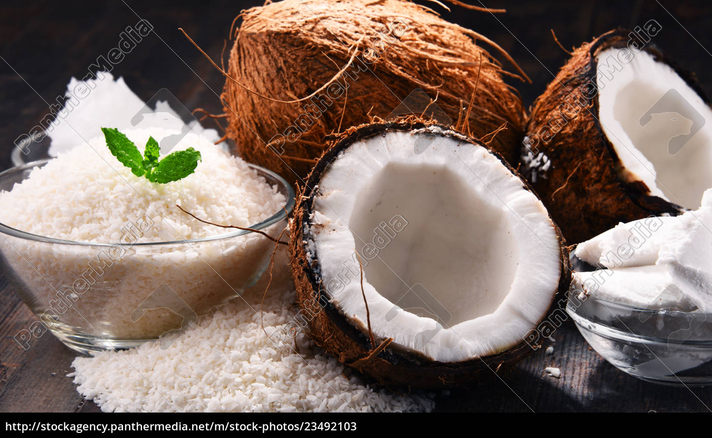composition, with, bowl, of, shredded, coconut - 23492103