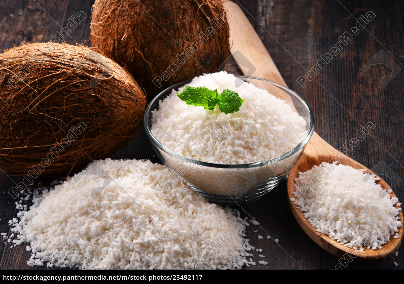 composition, with, bowl, of, shredded, coconut - 23492117