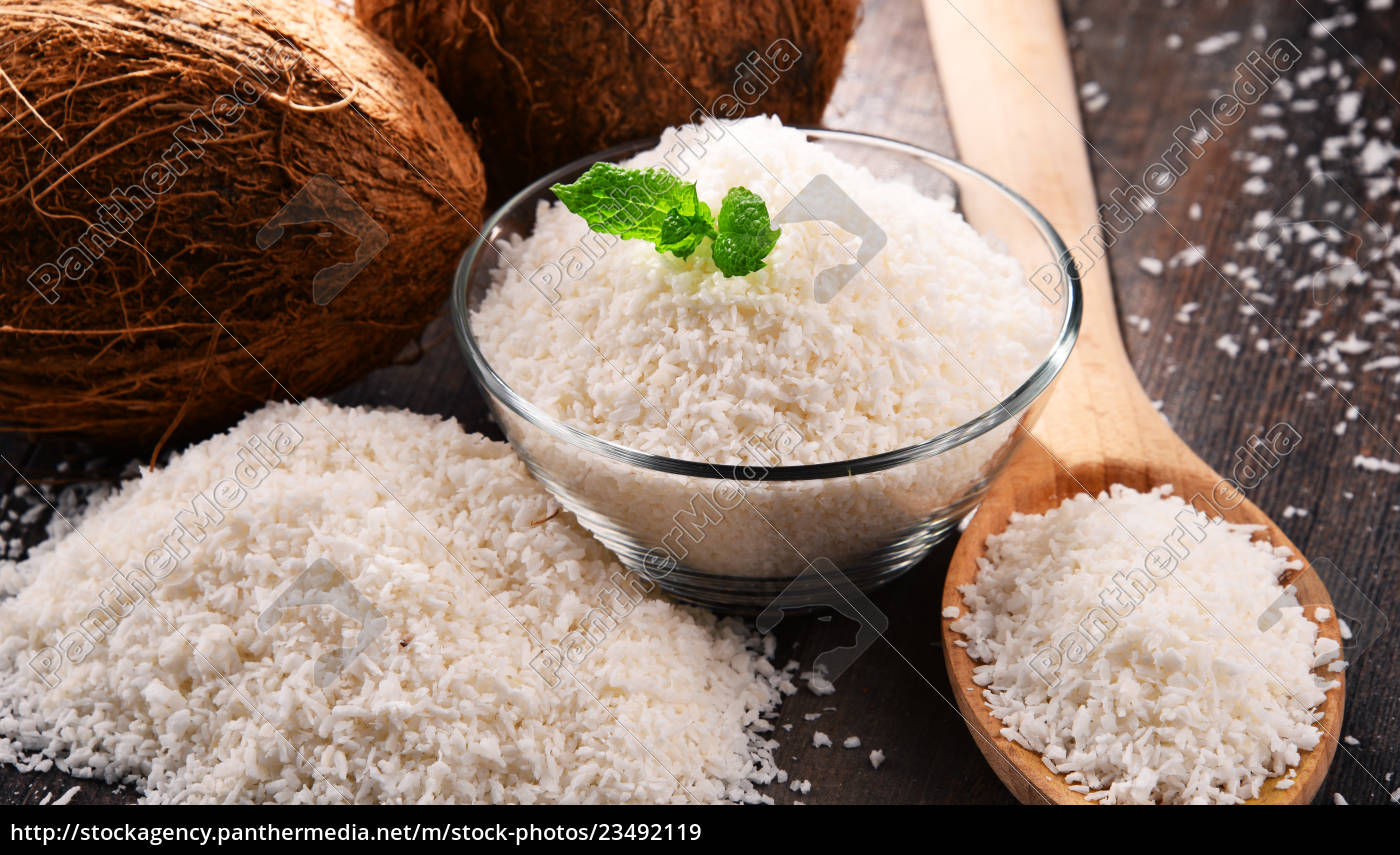 composition, with, bowl, of, shredded, coconut - 23492119