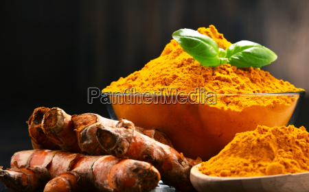 composition, with, bowl, of, turmeric, powder - 23492127