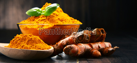 composition, with, bowl, of, turmeric, powder - 23492129