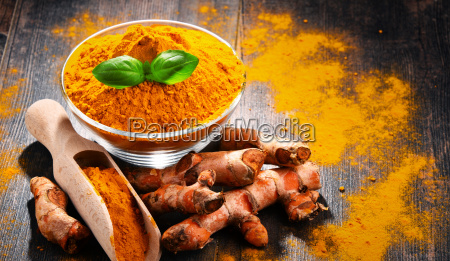composition, with, bowl, of, turmeric, powder - 23492145