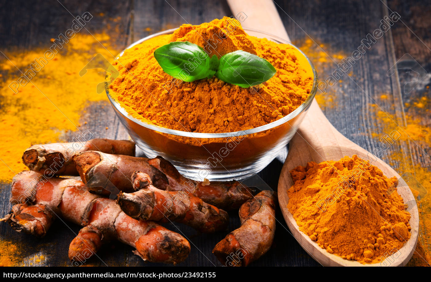 composition, with, bowl, of, turmeric, powder - 23492155