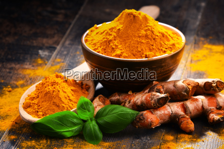 composition, with, bowl, of, turmeric, powder - 23492157