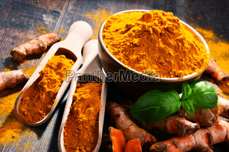 composition, with, bowl, of, turmeric, powder - 23492159