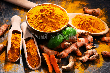 composition, with, bowl, of, turmeric, powder - 23492161