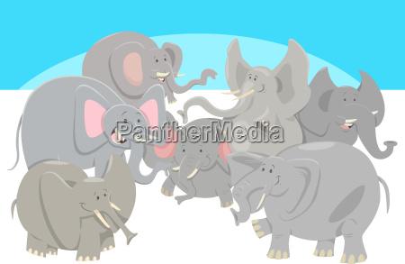 cartoon elephants animal characters group