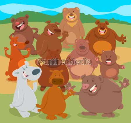 cartoon bears animal characters group