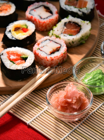 composition, with, assorted, sushi, rolls, and - 23493143
