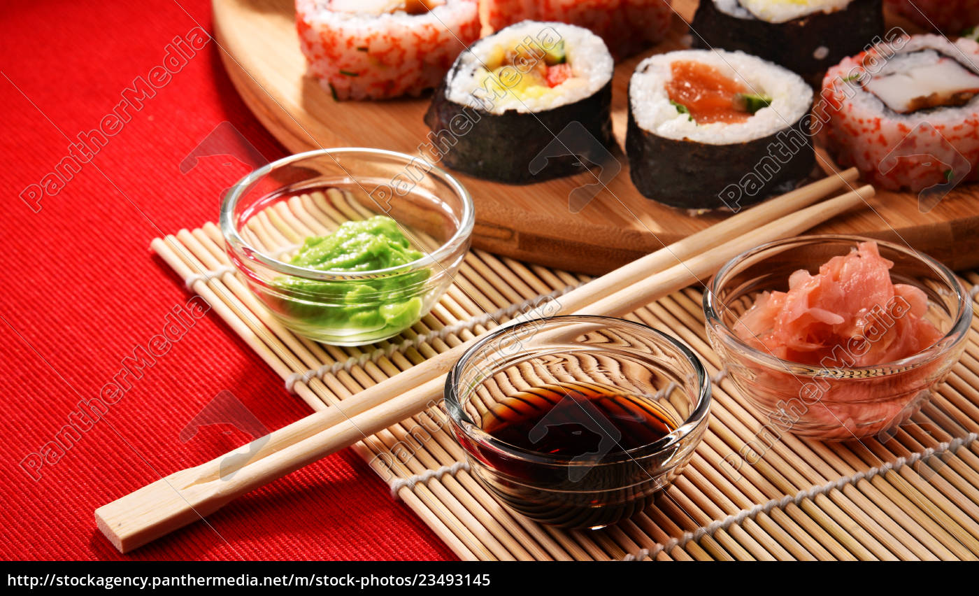 composition, with, assorted, sushi, rolls, and - 23493145